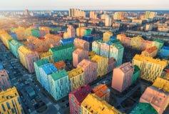 Widok z lotu ptaka kolorowi budynki w europejskim mieście przy zmierzchem obrazy royalty free