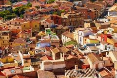 Widok z lotu ptaka kolorowi domy w Bosa, Sardinia, Włochy Zdjęcie Stock