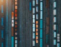 Widok z lotu ptaka kolorowi pociągi towarowi Obrazy Royalty Free