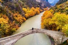 Widok z lotu ptaka Konitsa stary most i Aoos rzeka jesień dzień, zdjęcie royalty free