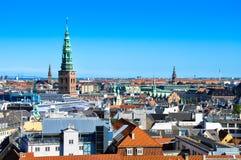 Widok z lotu ptaka Kopenhaga, Dani fotografia stock