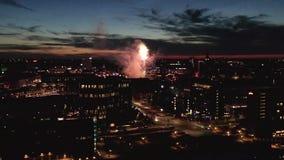 Widok z lotu ptaka Kopenhaga, Dani z fajerwerkami zdjęcie wideo