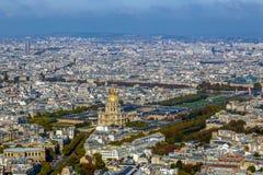 Widok z lotu ptaka kopuły des Invalids, Paryż, Francja fotografia stock