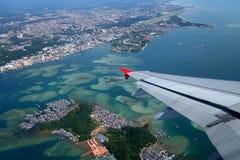 Widok z lotu ptaka Kot Kinabalu i Gaya wyspa, Sabah Zdjęcia Stock