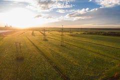 Widok z lotu ptaka krajobraz z liniami energetycznymi Obraz Royalty Free