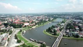 Widok z lotu ptaka Krakow Polska, Wawel kasztel w pięknym słonecznym dniu, - zbiory