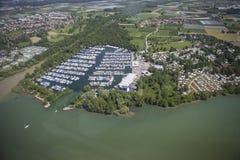 Widok z lotu ptaka Kressbronn Marina jezioro Constance Zdjęcia Stock