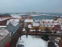 Widok z lotu ptaka Kronborg Helsingor i kasztelu miasto, Dani obraz stock