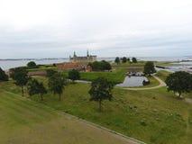 Widok z lotu ptaka Kronborg kasztel, Dani obraz royalty free