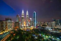 Widok z lotu ptaka Kuala Lumpur śródmieście, Malezja Pieniężny okręg i centra biznesu w mądrze miastowym mieście w Azja drapacz c zdjęcie royalty free