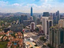Widok z lotu ptaka Kuala Lumpur śródmieście, Malezja Pieniężny okręg i centra biznesu w mądrze miastowym mieście w Azja drapacz c zdjęcia royalty free