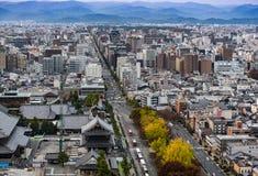 Widok z lotu ptaka Kyoto miasto przy półmrokiem Obrazy Stock