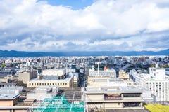 Widok z lotu ptaka Kyoto miasto z niebem Zdjęcie Stock