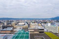 Widok z lotu ptaka Kyoto miasto z niebem obraz royalty free