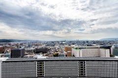 Widok z lotu ptaka Kyoto miasto z niebem obrazy royalty free