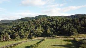 Widok z lotu ptaka las i pole w Pyrenean, Francja zbiory