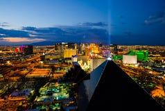 Widok z lotu ptaka Las Vegas przy noc. Zdjęcie Stock