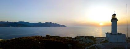 Widok z lotu ptaka latarnia morska i wierza na wyspie Giraglia Nakrętki Corse półwysep corsica Francja Zdjęcia Royalty Free