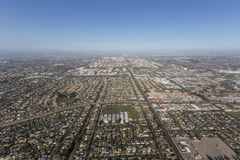 Widok z lotu ptaka lato smog nad Torrance i Los Angeles, Calif Zdjęcia Stock