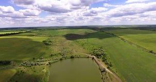 Widok z lotu ptaka lato wieś Ciężarówka rusza się wzdłuż jeziora A lota nad zielonym zaciszności jeziorem i polem zbiory wideo