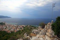 Widok z lotu ptaka Limenas, Thasos wyspa, Grecja Zdjęcia Stock