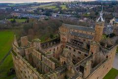 Widok z lotu ptaka Linlithgow kasztelu ruiny miejsce narodzin Maryjna kr?lowa Scots w Zachodnim Lothian, Szkocja fotografia royalty free