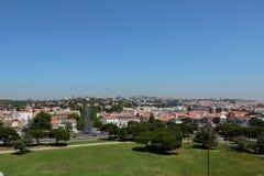Widok Z Lotu Ptaka Lisbon od Belem wierza na Tagus rzece, Port Obrazy Stock