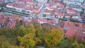 Widok z lotu ptaka Ljubliana pejzaż miejski zbiory wideo