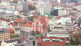 Widok z lotu ptaka Ljubliana pejzaż miejski zdjęcie wideo