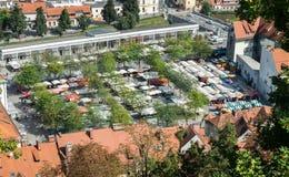 Widok z lotu ptaka Ljubljana ?rodkowy rynek obrazy stock