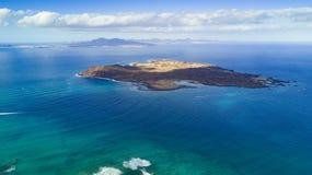 Widok z lotu ptaka lobos wyspy, Fuerteventura obraz royalty free