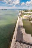 Widok z lotu ptaka lokalizować na Tagus rzece Belem wierza, Lisbon, P Obrazy Stock