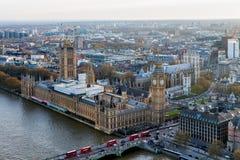 Widok z lotu ptaka Londyńska linia horyzontu i Rzeczny Thames, UK Obrazy Stock