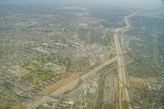 Widok z lotu ptaka Los Amigos pole golfowe z Los Angeles rzeką Zdjęcia Royalty Free