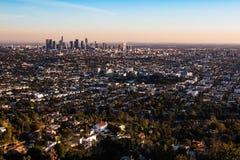 Widok Z Lotu Ptaka Los Angeles, Kalifornia przy Sunsent fotografia royalty free