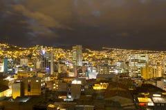Widok z lotu ptaka los angeles Paz w Boliwia przy nocą z tysiąc światło zdjęcie stock