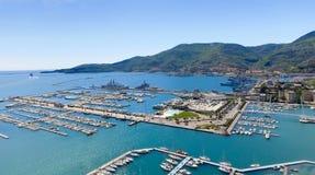 Widok z lotu ptaka los angeles Spezia, Włochy obraz stock