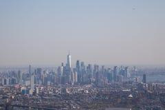Widok z lotu ptaka lower manhattan linia horyzontu, Nowy Jork Fotografia Stock