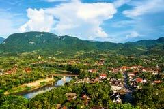 Widok z lotu ptaka Luang Prabang miasteczko w Laos Zdjęcie Stock