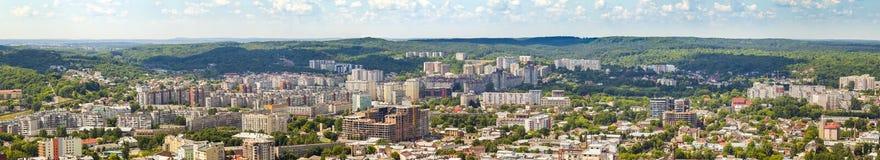 Widok Z Lotu Ptaka Lviv miasto Panorama z nowożytnymi budynkami i urb Zdjęcie Stock