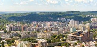 Widok Z Lotu Ptaka Lviv miasto Panorama z nowożytnymi budynkami i urb Fotografia Stock