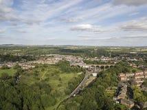 Widok z lotu ptaka mały Angielski miasteczko Obrazy Royalty Free