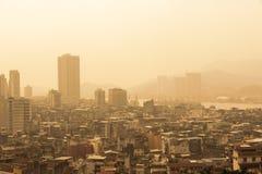 Widok z lotu ptaka Macau linia horyzontu przy zmierzchem zdjęcie stock