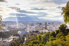 Widok z lotu ptaka Malaga, Hiszpania Fotografia Stock