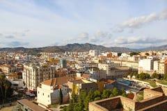 Widok z lotu ptaka Malaga, Hiszpania Zdjęcia Stock