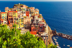 Widok z lotu ptaka Manarola, Cinque Terre, Liguria, Włochy zdjęcie stock