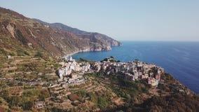 Widok z lotu ptaka Manarola w Cinque Terre Włochy zbiory wideo