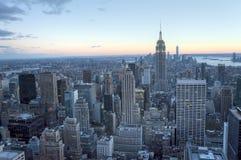 Widok z lotu ptaka Manhattan linia horyzontu i Miasto Nowy Jork linia horyzontu Obraz Royalty Free