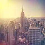 Widok z lotu ptaka Manhattan linia horyzontu przy wschodem słońca, Miasto Nowy Jork, usa Obrazy Stock