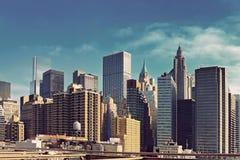 Widok z lotu ptaka Manhattan linia horyzontu przy zmierzchem, Miasto Nowy Jork fotografia stock